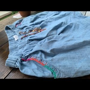 Gap vintage denim skirt colorful trim boho